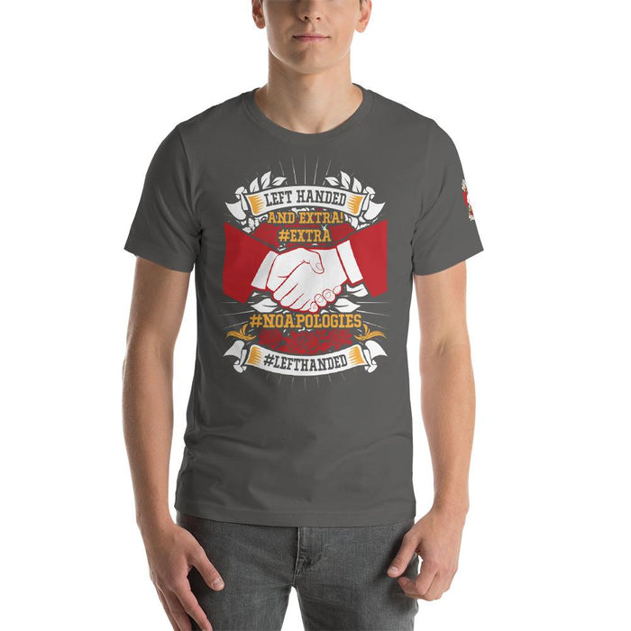 Left Handed And Extra Short-Sleeve Unisex T-Shirt | Branded Left Sleeve