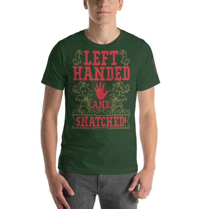 Left Handed And Snatched Short-Sleeve Unisex T-Shirt | Branded Left Sleeve