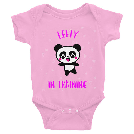 Pink Lettering Lefty In Training Infant Bodysuit