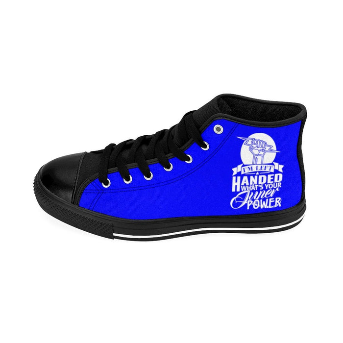 Shoes - I'm Left Handed What's Your Super Power Men's High-top Sneakers | Blue