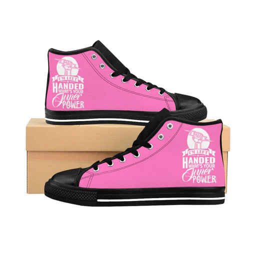 Shoes - I'm Left Handed What's Your Super Power Women's High-top Sneakers | Hot Pink