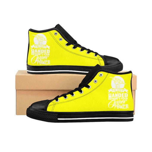 Shoes - I'm Left Handed What's Your Super Power Women's High-top Sneakers | Yellow