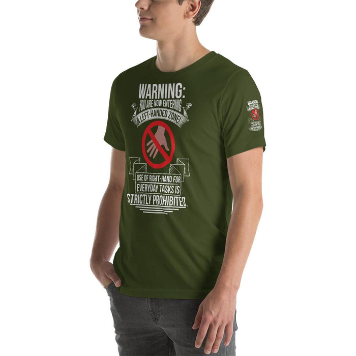 You Are Now Entering A Left-Handed Zone Short-Sleeve Unisex T-Shirt | Branded Left Sleeve
