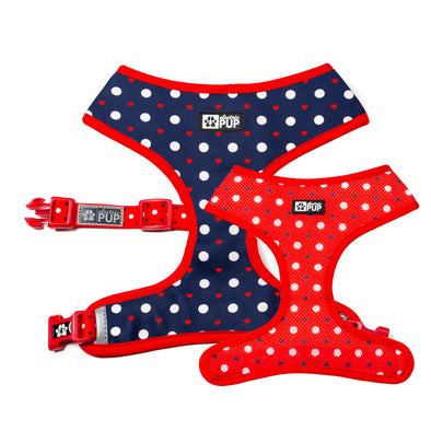 'Puppy Love' (Navy/Red) Reversible Harness