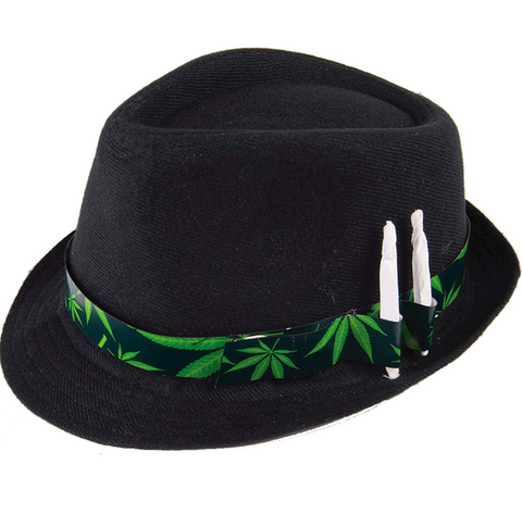 Black Stoner Fedora Hat with Joint Holders