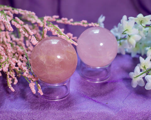 Rose Quartz Spheres - The Crystal Cavern