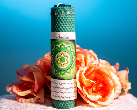 Anahata Heart Chakra Candle - The Crystal Cavern