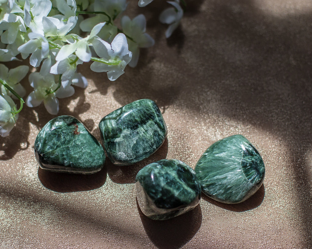 Seraphinite tumbles for Angelic Communication - The Crystal Cavern
