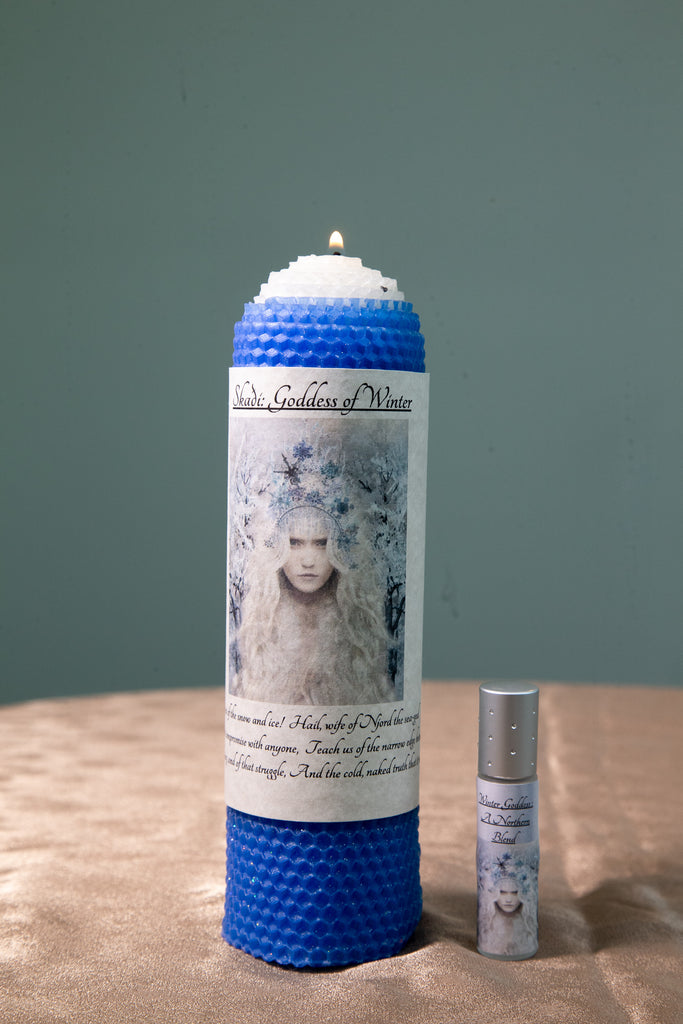 Skaði: Goddess of Winter Candle and Intention Oil - The Crystal Cavern