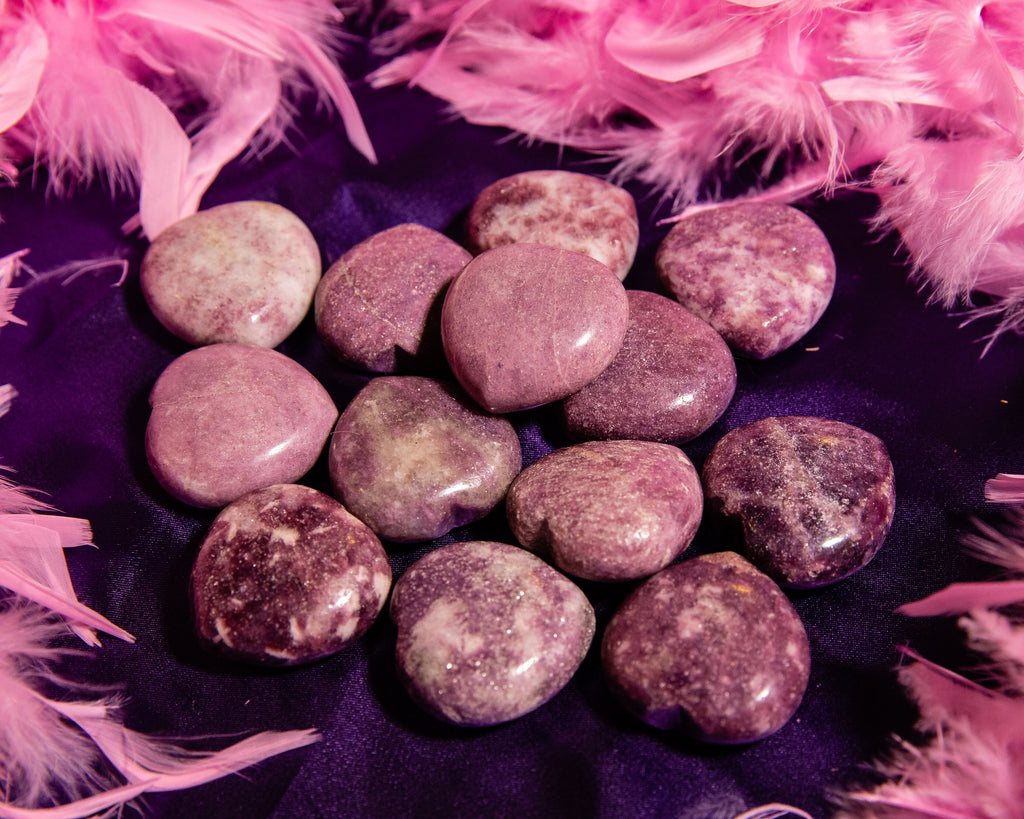 Lepidolite Hearts for Stress and Anxiety Relief - The Crystal Cavern