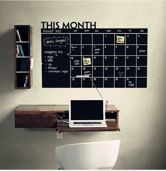 Removable Wall Decal Chalkboard Monthly Planner
