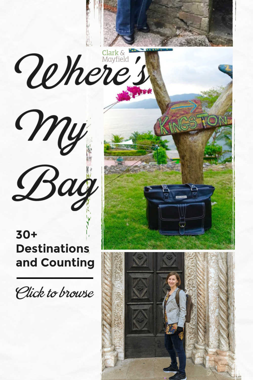 Clark & Mayfield's laptop bags are traveling the world in our Where's My Bag series, with 30 travel destinations and counting! Visit our blog to browse travel pics and learn about our beautiful travel laptop bags.