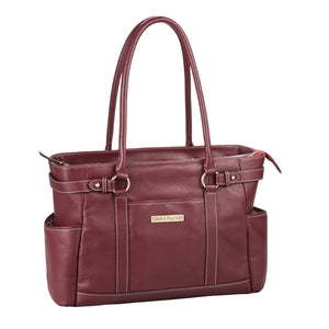 "17.3"" Hawthorne Leather Handbag - Port Red"