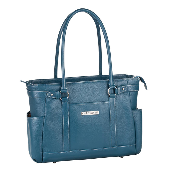"17.3"" Hawthorne Leather Handbag - Deep Teal"