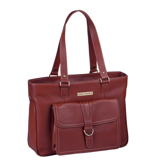 "15.6"" Stafford Leather Pro Handbag -  Port Red"