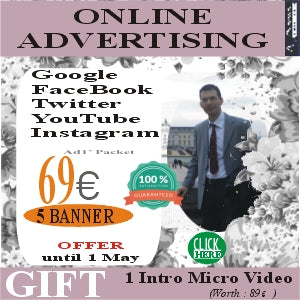 Advertisements Creation on Social Media: Creation of 5 Banners or Covers with 69 euros + Gift 1 Micro Video