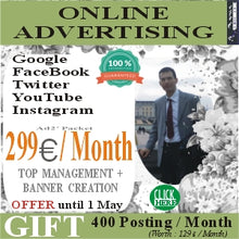 Advertising Management and Banner Creation in the 5 most important Social Media for 299 euros / month.
