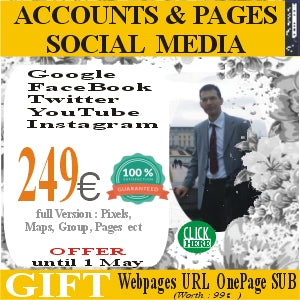 SOCIAL MEDIA ACCOUNTS Create 5 main social media accounts for only 249 euros. Gift website url OnePage SUB