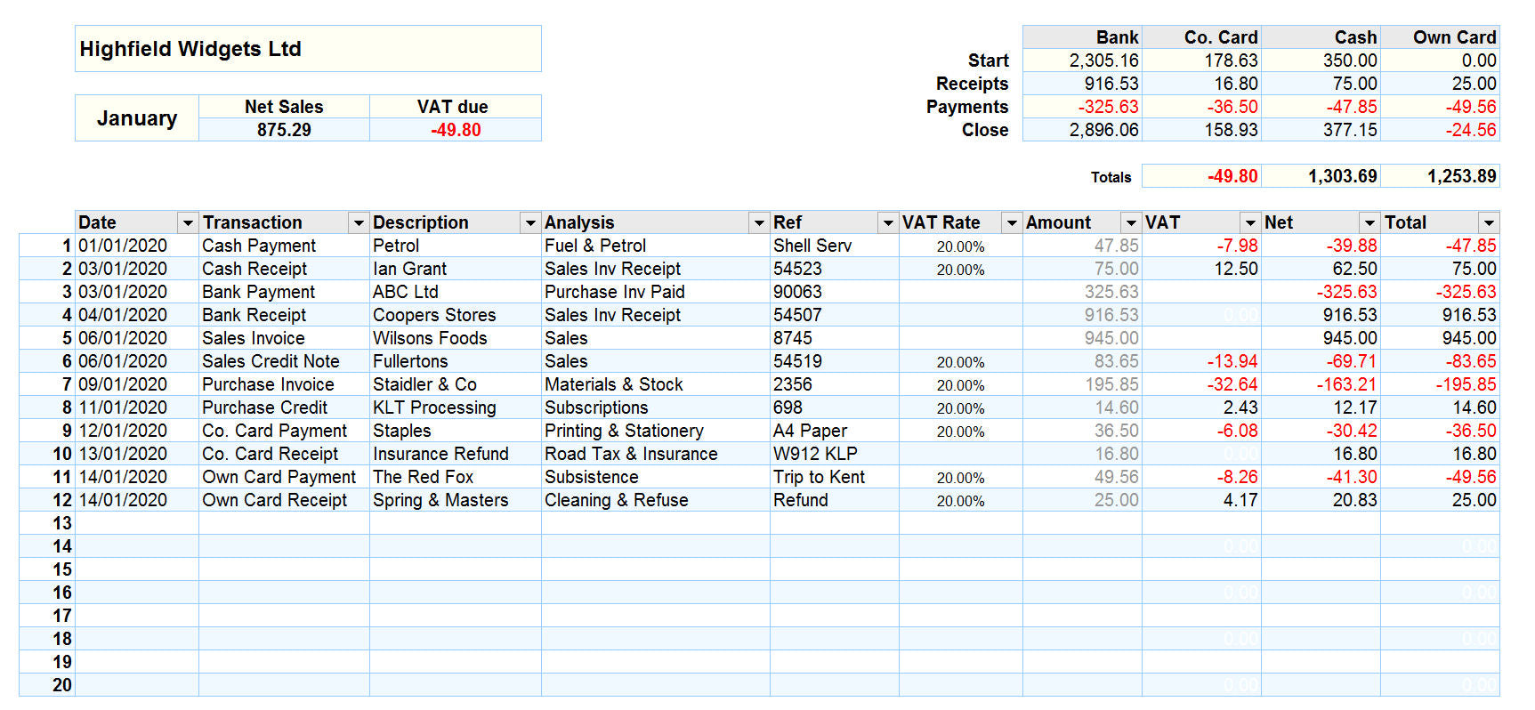 Accounting Spreadsheet for Mac