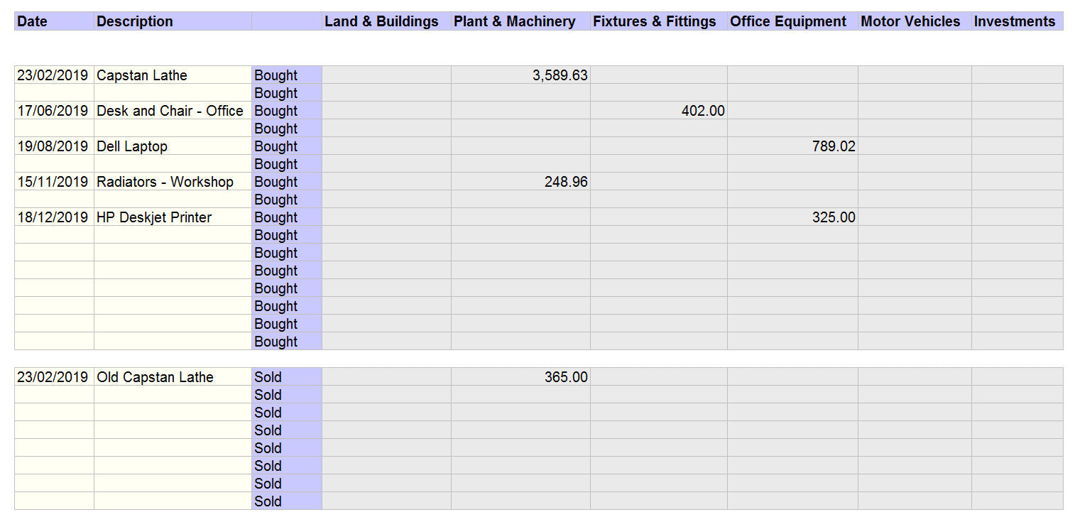Accounting Spreadsheet for Mac with Fixed Assets