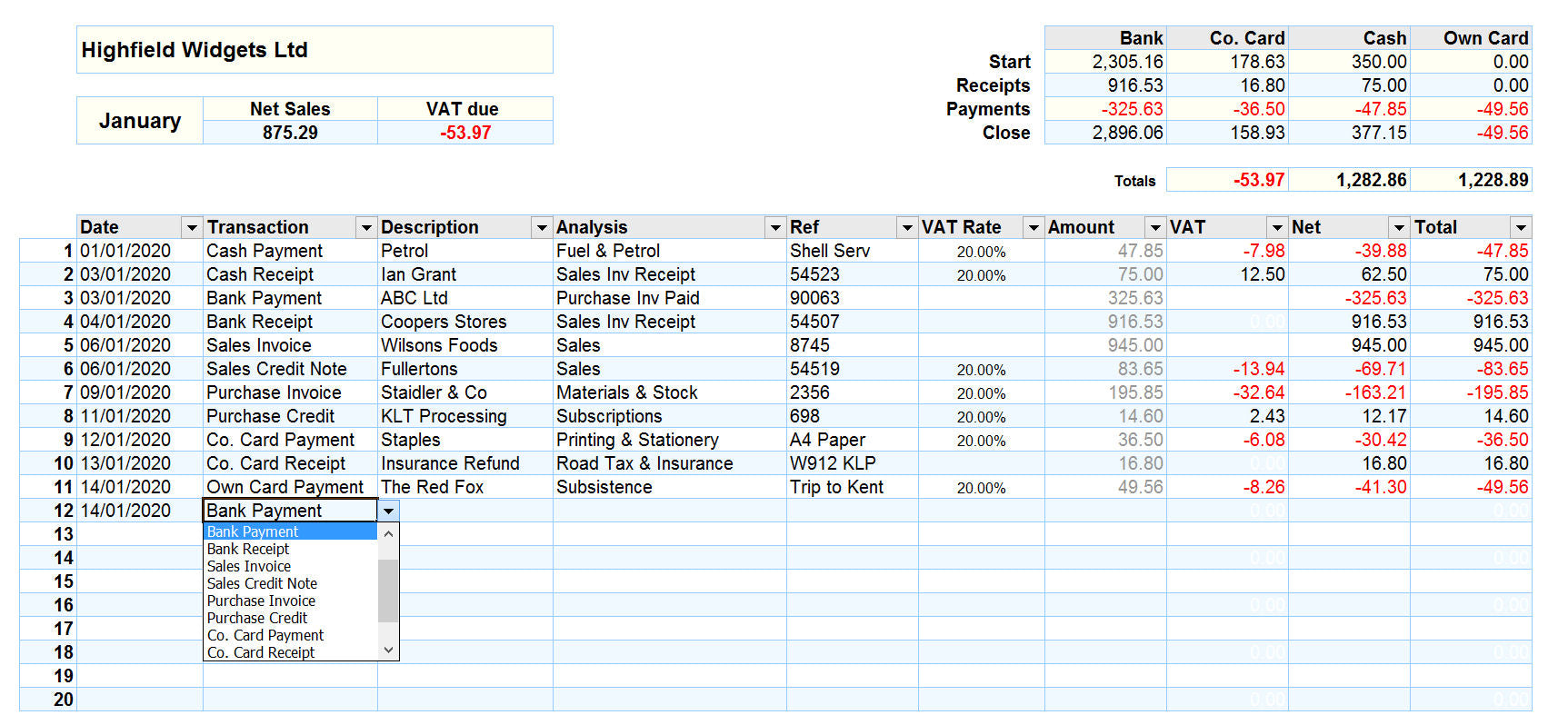 Accounting Spreadsheet for Mac with Payments