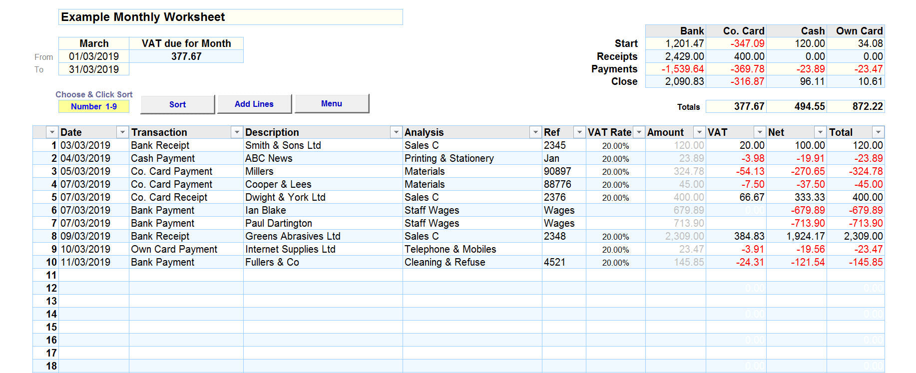 Bookkeeping Spreadsheet for Cash Accounting