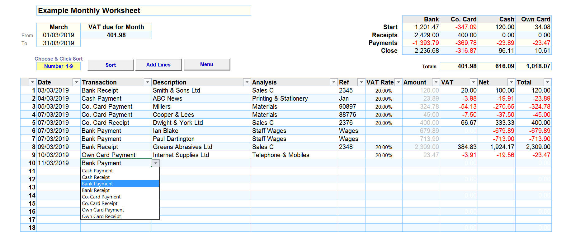 Bookkeeping Spreadsheet with Cash Accounting and Payment Types