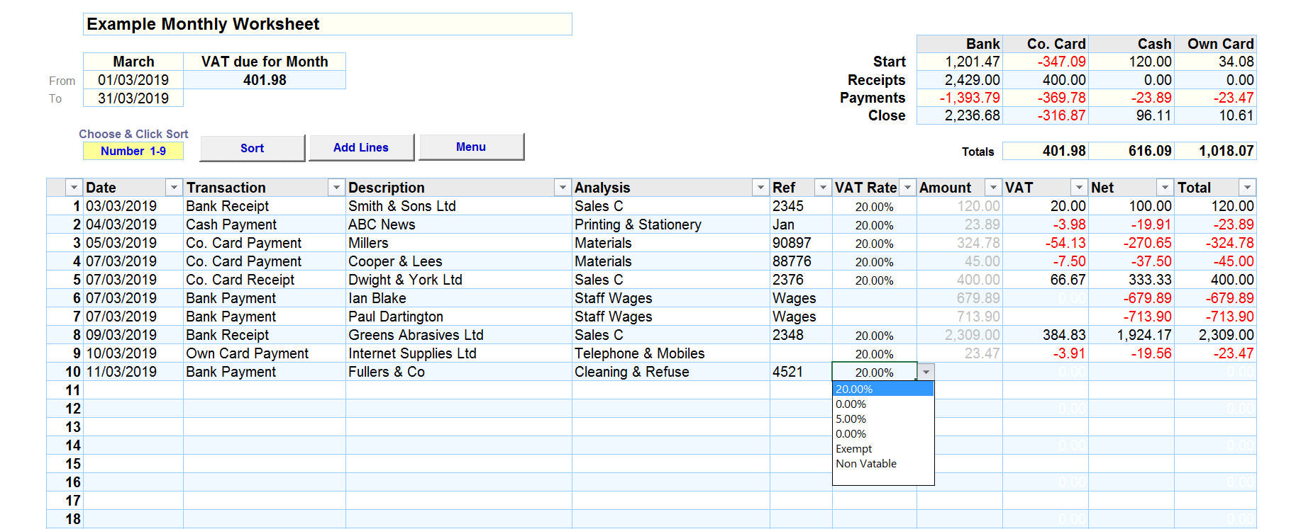 Bookkeeping Spreadsheet with VAT using the Cash Accounting method