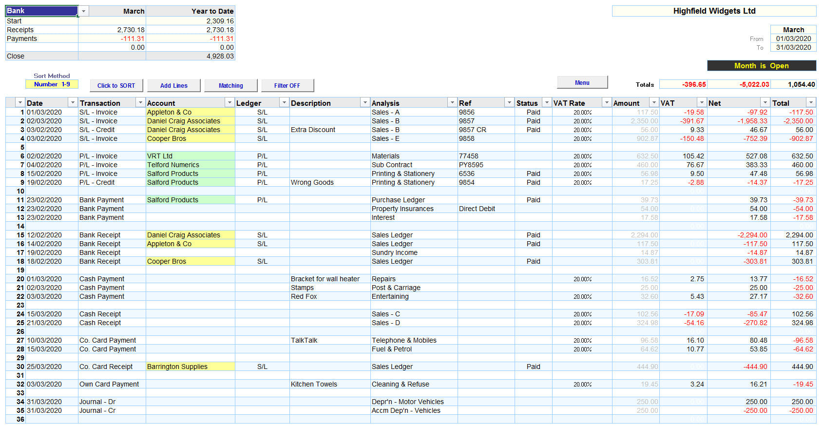 Excel Accounting Spreadsheet Template for a small business