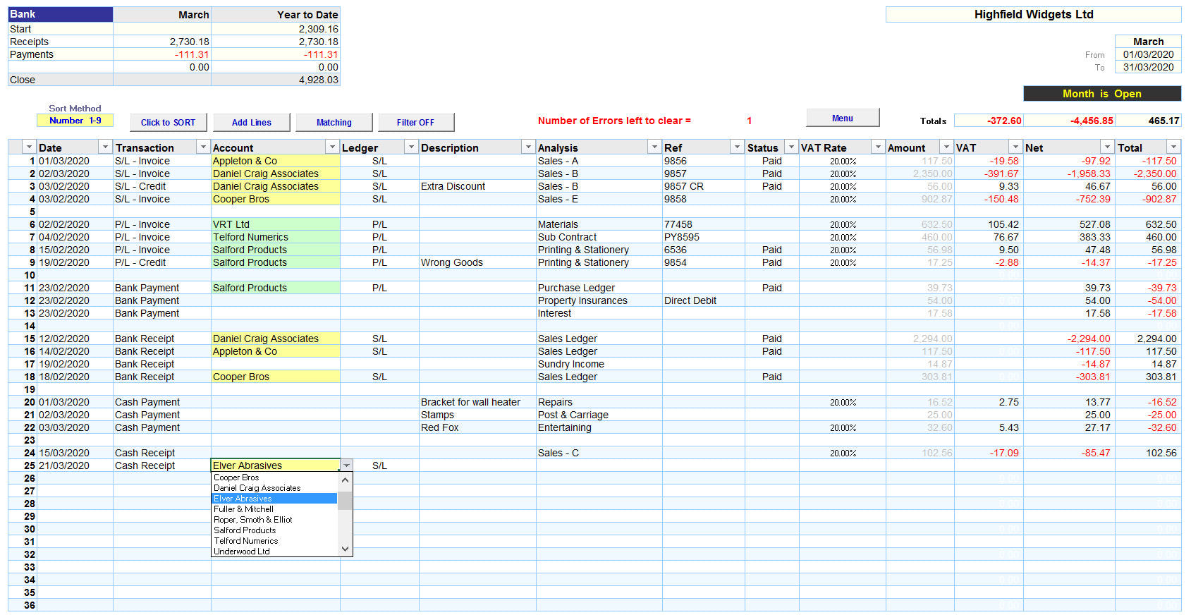 Excel Accounting Spreadsheet Template for Sales Ledger