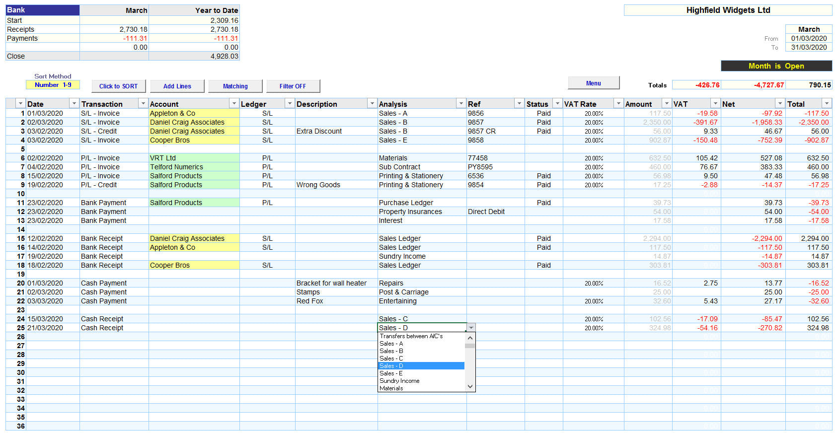 Excel Accounting Spreadsheet Template with Analysis
