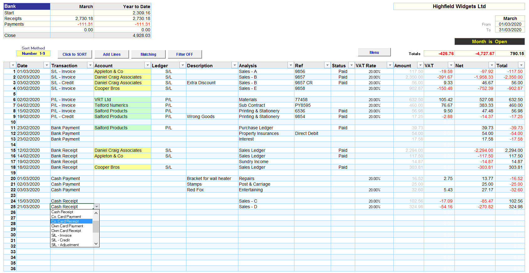 Excel Accounting Spreadsheet Template with Payments