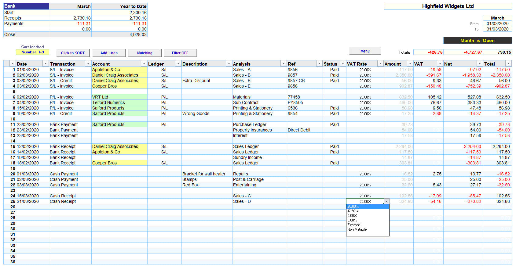 Excel Accounting Spreadsheet Template with VAT