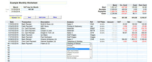 Bookkeeping Spreadsheet using Cash Accounting showing the Analysis