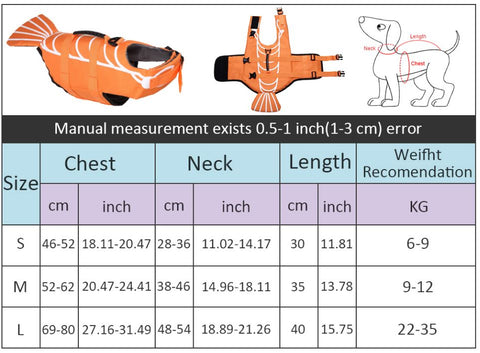 Funny Dog Life Vest - Measurements