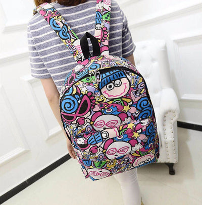 Graffiti Canvas Backpack for Students