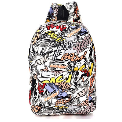 Graffiti Canvas Backpack for Students - GeniusSo
