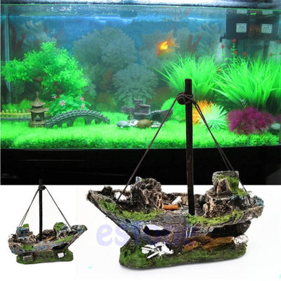 Wreck Sunk Ship Aquarium Ornament - GeniusSo