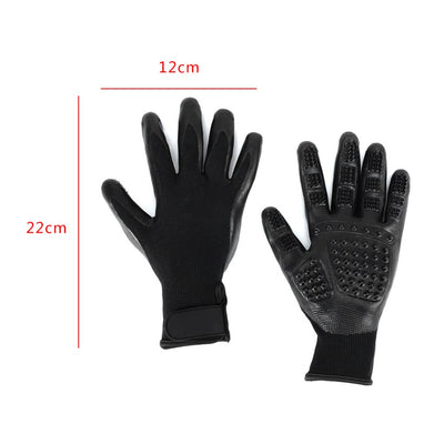 GeniusSo - Silicone Grooming Black Elegant Gloves for Pets