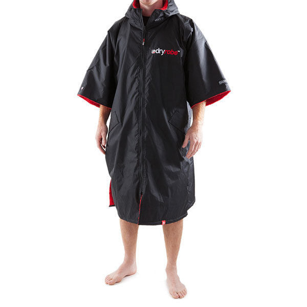 Dryrobe Advance Short Sleeve Changing Poncho Large Black/Red Surf SUP Swim Beac-Magic Toast