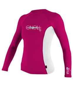 O'Neill - Girls Skins L/S Rash Vest - White/Pink-Magic Toast