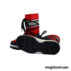 Moon Boot Kids Moonboots WE Sport Mid Junior Red/Navy Blue Snow Shoes-Magic Toast