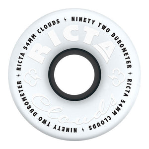 Ricta - Clouds 54mm 92a Skateboard Wheels - White/Black-Magic Toast