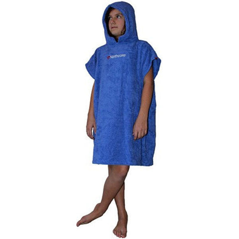 Northcore - Childrens (Age 6-12) Beach Basha Changing Robe Poncho - Blue-Magic Toast