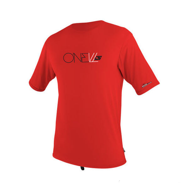 O'Neill - Youth Skins Short Sleeved Rash Vest/Tee - Red-Magic Toast