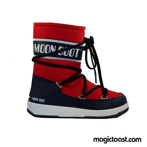 Moon Boot - Kids WE Sport Mid Junior - Red/Navy Blue Snow Shoes-Magic Toast