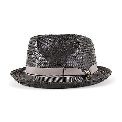 Brixton - Castor Straw Hat Black/Taupe Trillby-Magic Toast