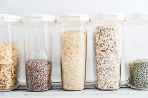 Pantry items stored in containers