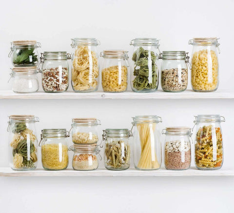 Pantry with sealed glass containers