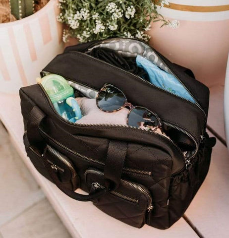 OiOi Black Quilt Nappy Bag